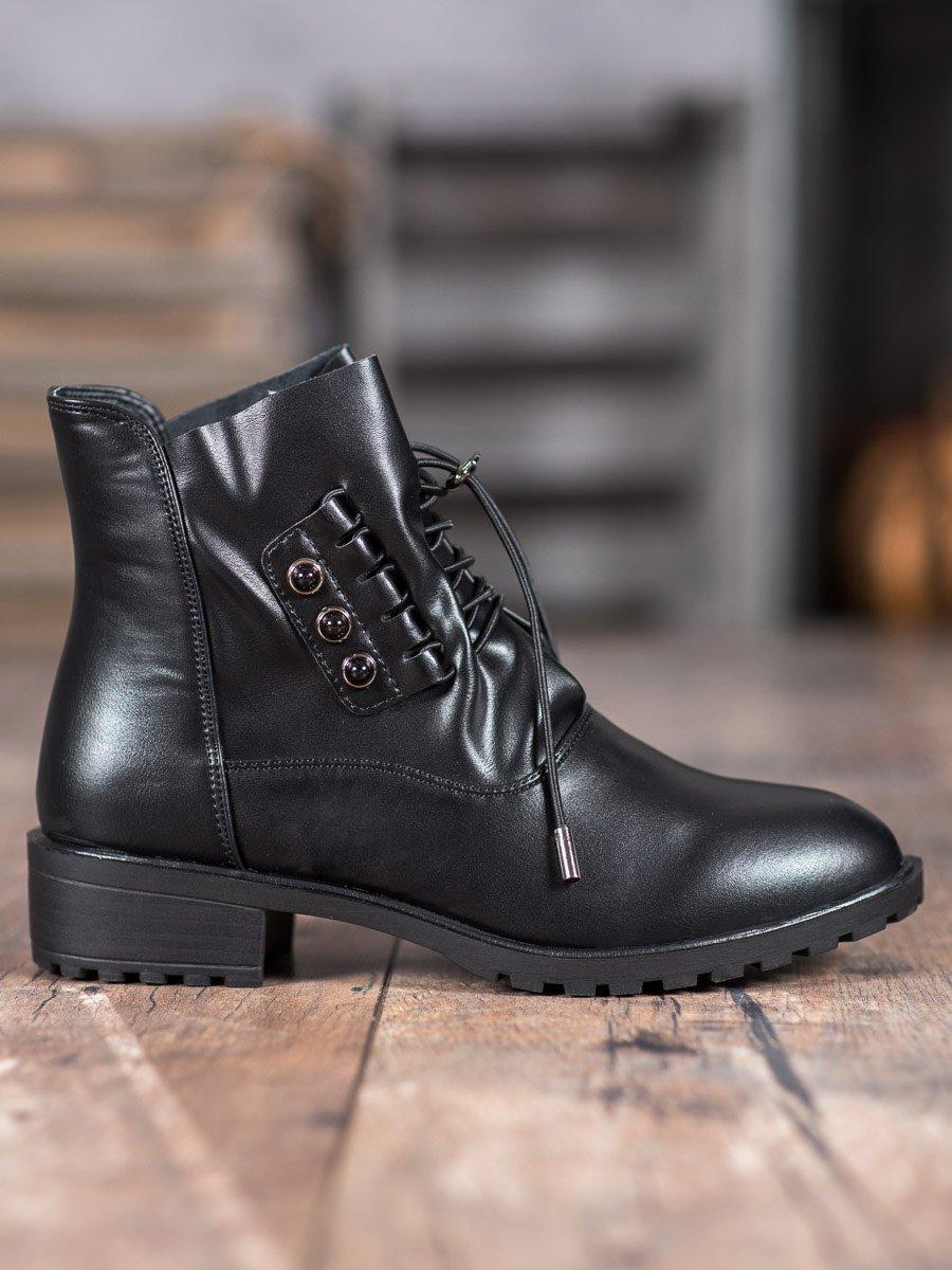 czarne botki z ściagaczem