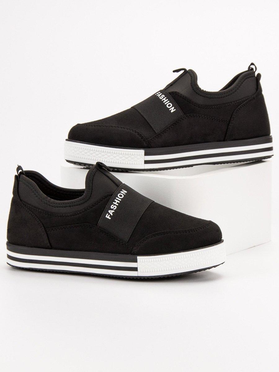 Czarne Wsuwane Sneakersy   Sneakers, Czarny i Jesień zima